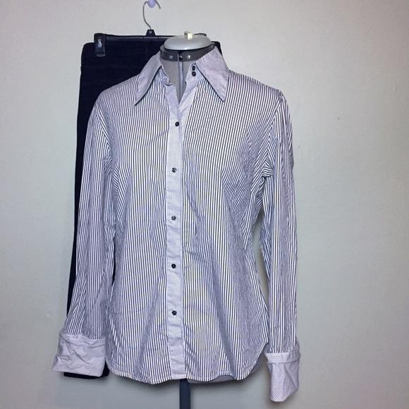 1857d6cef1b Limited Stretch Gray White Stripe Button Down Top.  M_5a6e7d609a9455483acd6400